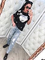 """Женские красивые """"рваные"""" джинсы бойфренд с жемчугом"""