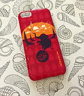 Пластиковый чехол для iPhone 5C розовый со слоном