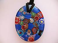 Подвеска муранское стекло Синий Овал