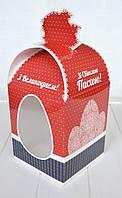 Коробка для  пасхального кулича 11х11х14 см. (красно-синяя)