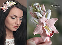 """Обруч с цветами """"Персиковая орхидея с розами и бутонами"""", фото 1"""