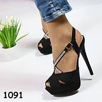 Босоножки женские на высоком каблуке черные 1091