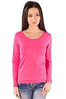Розовая футболка с длинным рукавом женская без рисунка хлопок стрейчевая трикотажная (Украина)