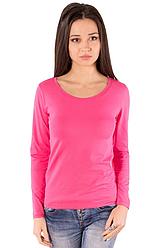 Рожева футболка з довгим рукавом жіноча без малюнка бавовна стрейчева трикотажна
