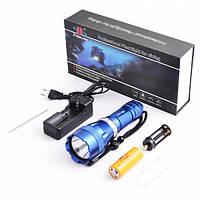 Профессиональный фонарь для дайвинга и подводной охоты, Т6  5 режимов работы ,дальность свечения до 70м