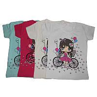Футболка для девочки р.86-104  девочка на велосипеде