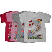 Футболка для девочки р.86-104  1000 котик, слоник, воздушные шарики
