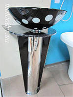 Гарнитур: накладной умывальник стеклянный на пъедестале