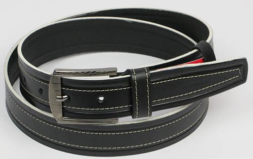 Мужской кожаный ремень под джинсы Skipper 5427 чёрный ДхШ: 130х4 см.
