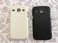 Кожаный чехол накладка Kuboq для Samsung Core I8262 / I8260 белый и чёрный