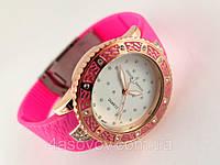Часы женские - Ulysse Nardin - Star на каучуковом ремешке, розовые с кристаллами