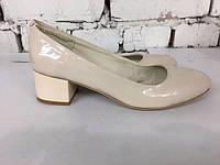 Женские туфли лодочки на толстом каблуке,кожа