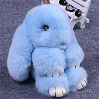 Оригинальный брелок кролик. Мех натуральный. Цвет голубой 16 см