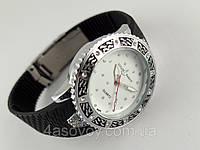Часы женские Ulysse Nardin - Star на черном каучуковом ремешке, серебристый корпус с кристаллами, фото 1