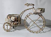 Кашпо французский велосипед винтажный, мешковина декор 44см
