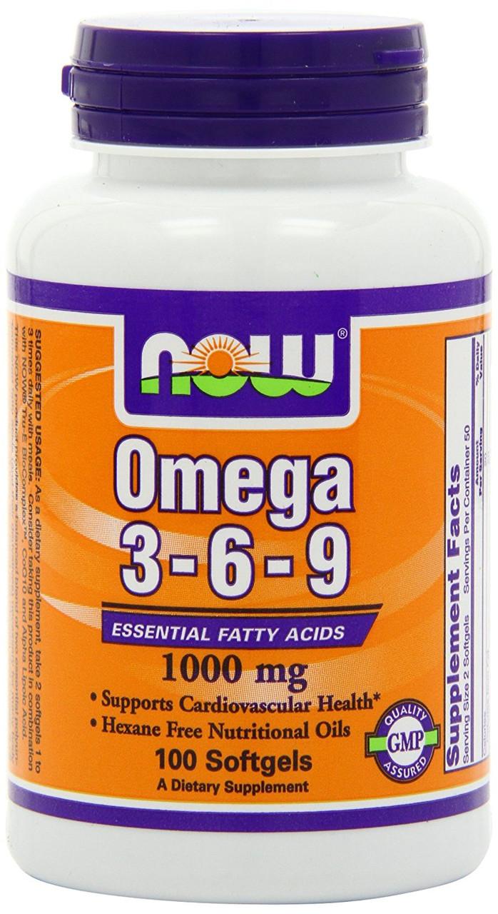 Now Foods, Омега 3-6-9 растительного происхождения, 100 капсул