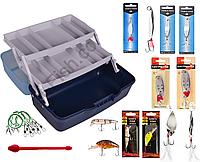 Рыболовный набор с ящиком и блеснами 11в1