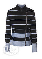 Голубая кожаная куртка комбинированная женская