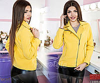 Элегантная куртка-косуха на молнии, в молочном/черном/желтом/бирюзовом цветах.