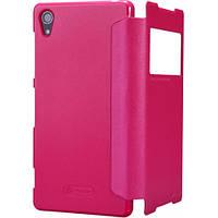 Кожаный чехол (книжка) Nillkin Sparkle Series для Sony Xperia Z2 (L50) Розовый