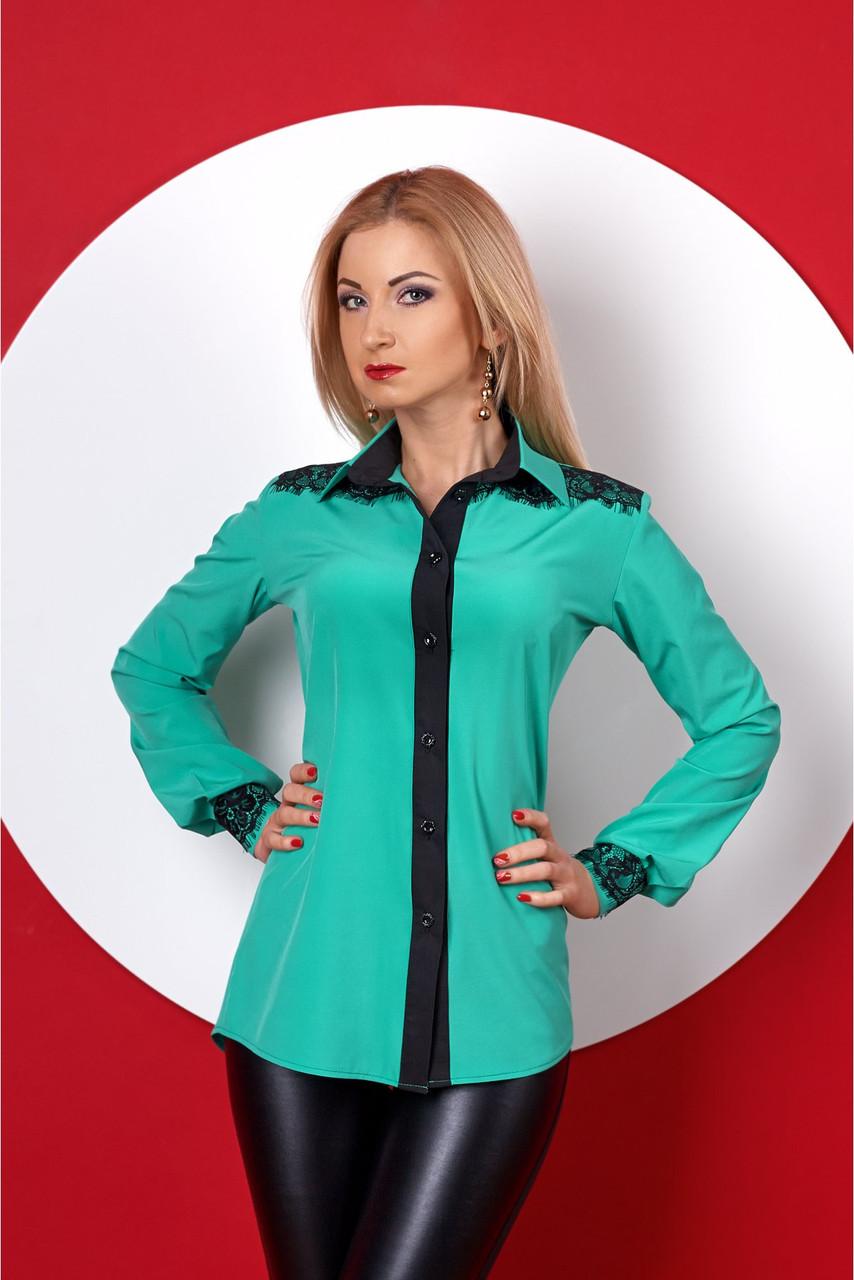 3e7c978923f4 Классическая женская рубашка мятного цвета с черным кружевом