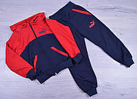 """Спортивный костюм детский """"Puma"""". 1-5 лет. Темно-синий+красный. Оптом"""