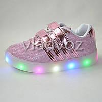 Детские светящиеся кроссовки с led подсветкой для девочки розовые Jong Golf 22р.