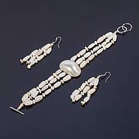 Комплект Перламутр браслет и серьги