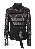 Черная кожаная куртка комбинированная женская