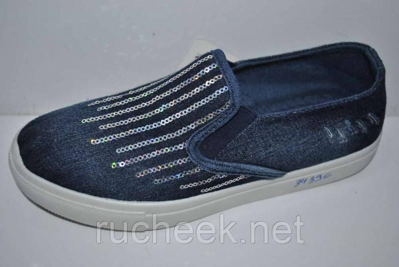 Слипоны женские джинсовые с пайетками р 36,  ТМ Caroc