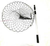Подсак круглый D60 из кордовой нити с ячейкой 40 мм, телескопическая ручка, помощник при выуживании рыбы