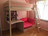 Кровать-чердак с мягким диванчиком