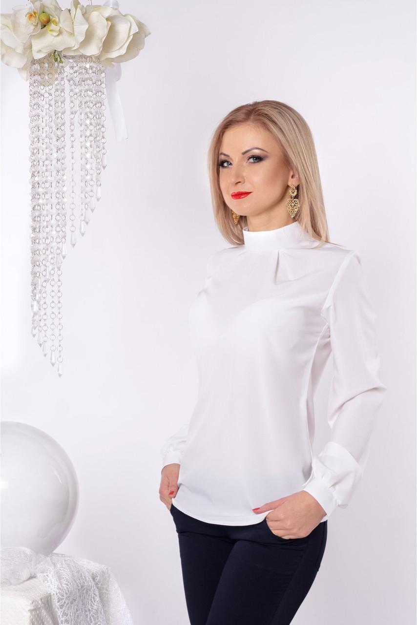 47788fe0d44 Нарядная белая блуза воротник-стойка с декоративным складками на груди -  Оптово-розничный магазин