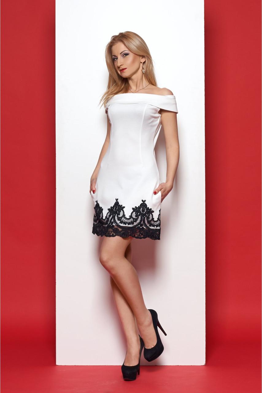 4f332190ee9e Нарядное белое платье с открытыми плечами по низу черное кружево -  Оптово-розничный магазин одежды