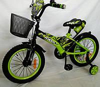 """Детский велосипед """"Racer-16"""" салатовый. 16 дюймов."""