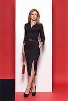 Деловое женское платье-футляр черно-красное с поясом