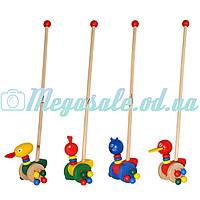 Деревянная игрушка каталка на колесах с ручкой Животные 0025: 4 вида
