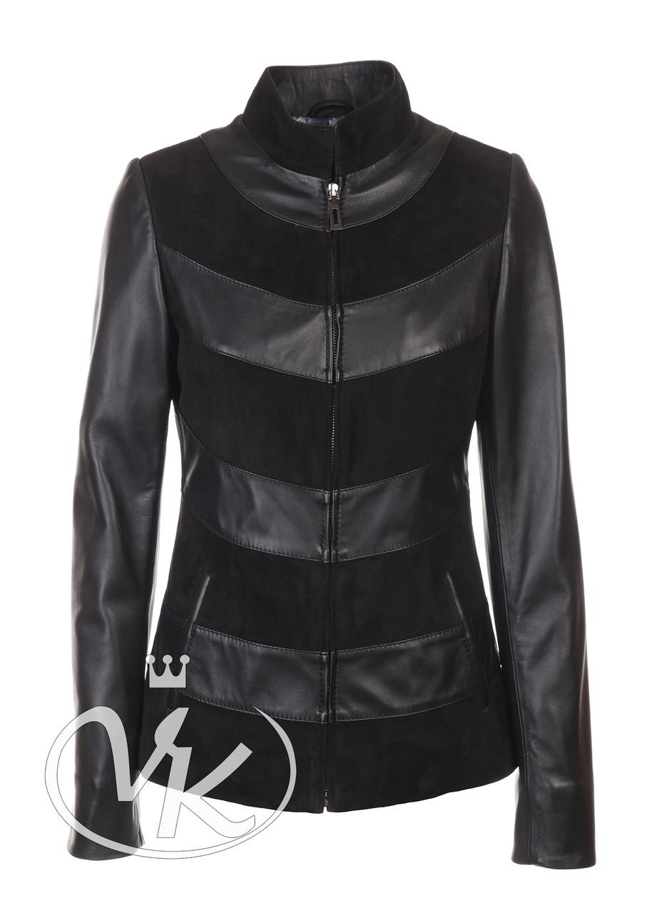 Кожаная куртка с замшей коротая черная женская 46 размера (Арт. LIL201)
