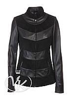 Черная кожаная куртка из замши женская