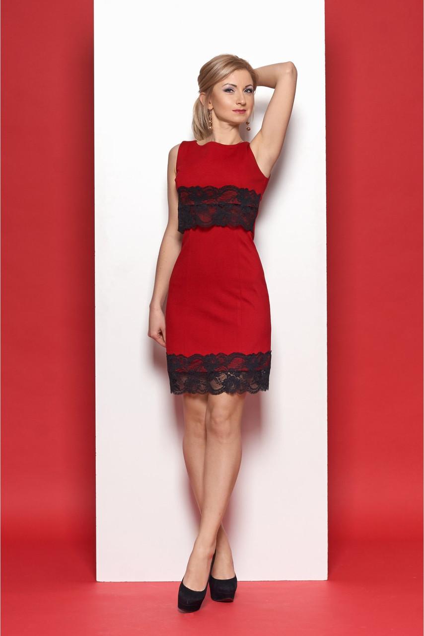 18f50fe952c Яркое красное платье без рукава с гипюровыми вставками от оптово ...