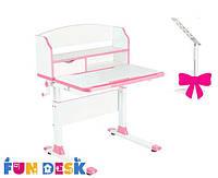 Детский стол-трансформер FunDesk Pensare Pink+лампа FunDesk L3
