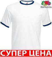 Мужская футболка комбинированная с окантовкой приталенная 100% хлопок Белый/Темно-Синий Размер L 61-168-ZA L