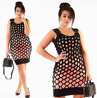 Красивое модное стильное женское трикотажное платье большого размера в обтяжку до колена с перфорацией