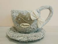 Чашка малая белая из сена.