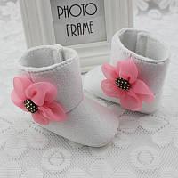 Пинетки сапоги Цветок (бел) 11