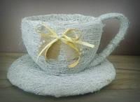 Чашка-кашпо большая белая из сена