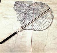 Подсак алюминиевый малый d45 см, Украина, кордовая нить, ячейка 30 мм, размер 140 см, ручка 90 см, круглый