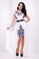 Женское белое платье по колено снакидкой без рукав с цветочным узором