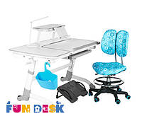 Детский стол-трансформер FunDesk Amare Grey + лампа LC1