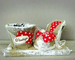Кашпо+туфелька из мешковины.